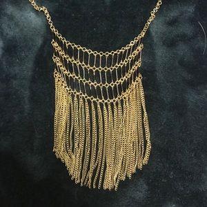 Gold and Black fringe necklace